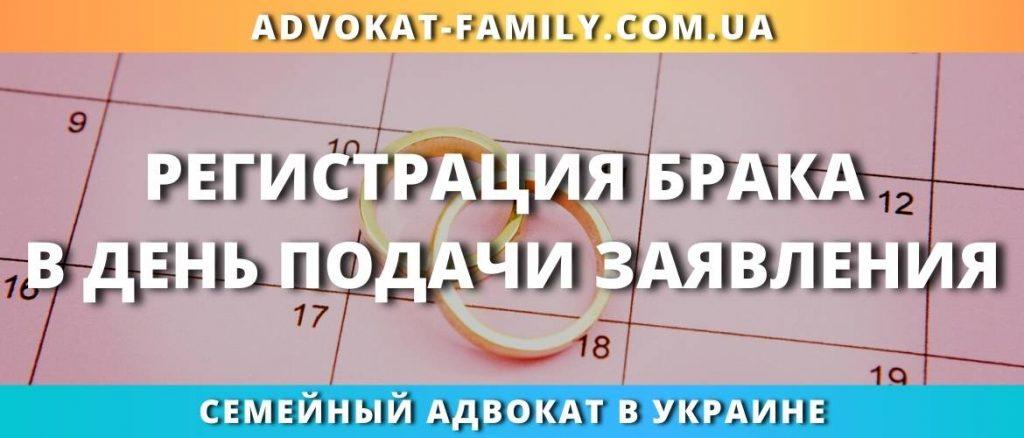 Регистрация брака в день подачи заявления