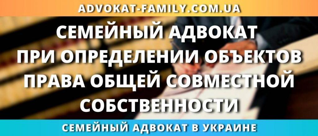 Семейный адвокат при определении объектов права общей совместной собственности