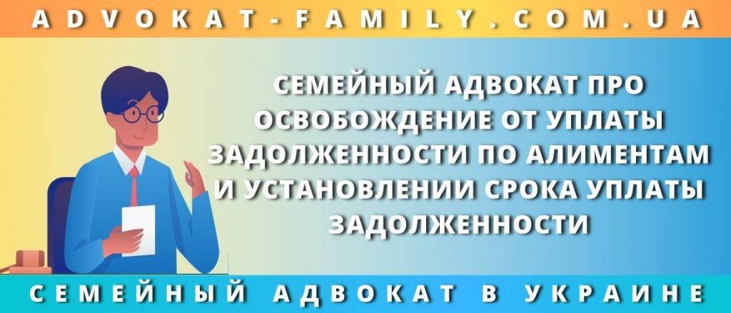 Семейный адвокат про освобождение от уплаты задолженности по алиментам и установлении срока уплаты задолженности